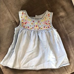 Baby Gap denim tank top with floral embroidery sz2